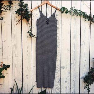 Stretchy, strappy, stripped dress